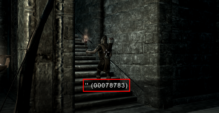 A Whiterun Guard's reference ID is highlighted